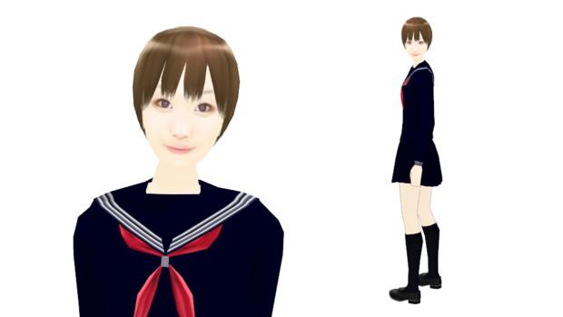 【MMDモデル配布】こんなエキストラ用モデルを作ってみた:女子学生E子(テスト版)