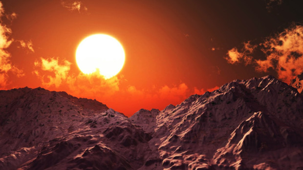 【MMDステージ配布】夕焼けの雪山 N4【スカイドーム】