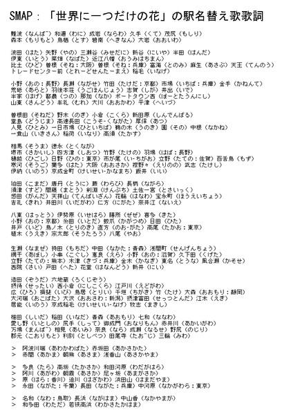 SMAP:「世界に一つだけの花」の駅名替え歌歌詞 / 栃木那須(初代) さんのイラスト - ニコニコ静画 (イラスト)