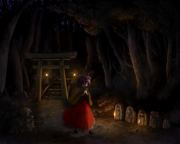 夕暮れの林道