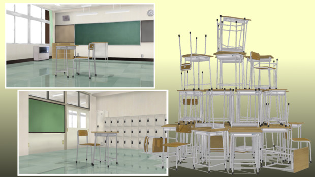 教室と机といす