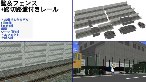 壁&フェンス+踏切路盤付きレールキット配布