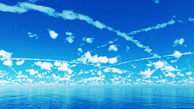 Mmdステージ配布青空と飛行機雲 S3スカイドーム 怪獣対若大将p