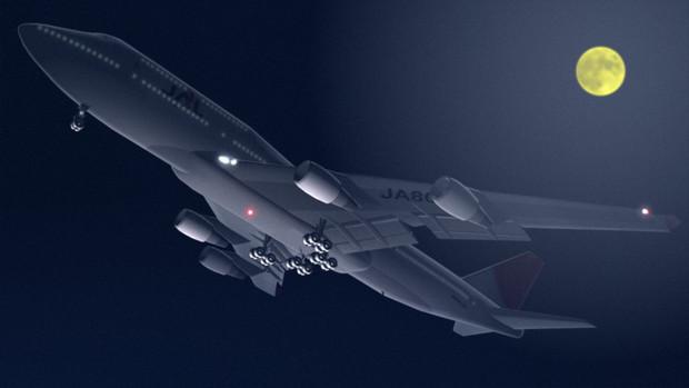 747夜の離陸