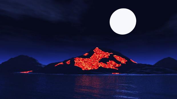 【MMDステージ配布】夜の火山島 X3【スカイドーム】