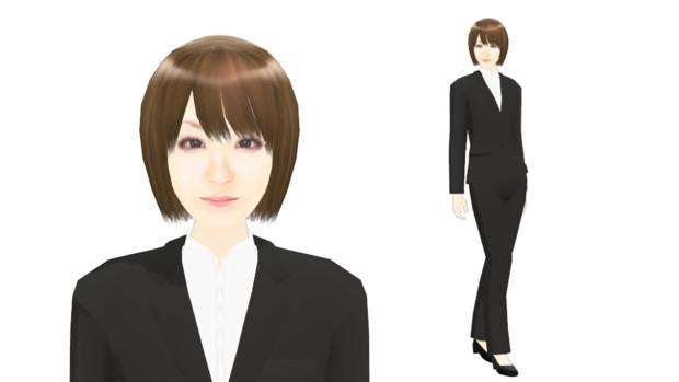 【MMDモデル配布】こんなエキストラ用モデルを作ってみた:女子社員G子