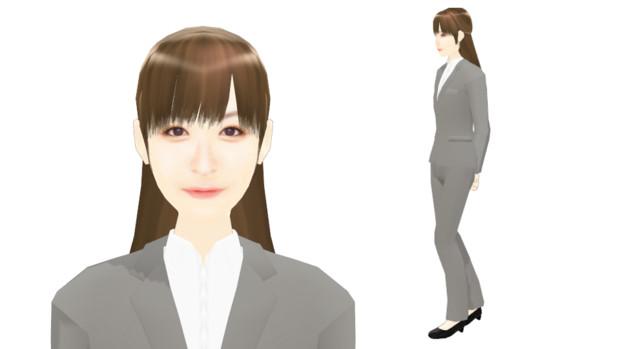 【MMDモデル配布】こんなエキストラ用モデルを作ってみた:女子社員H子
