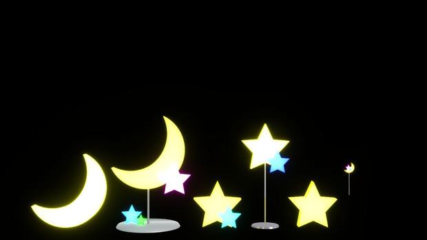 【配布】月と星のオブジェ