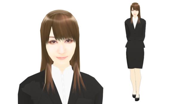 【MMDモデル配布】こんなエキストラ用モデルを作ってみた:女子社員J子