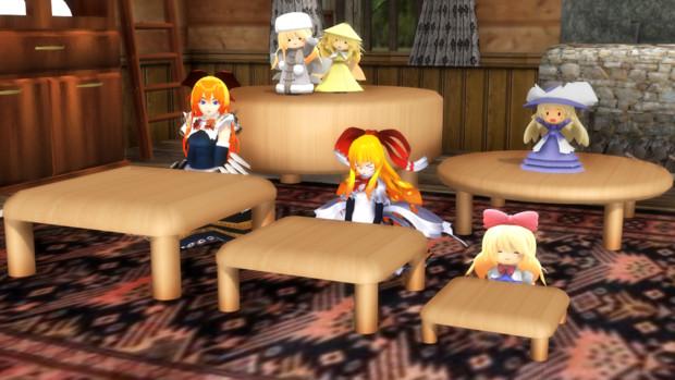 人形達とちゃぶ台