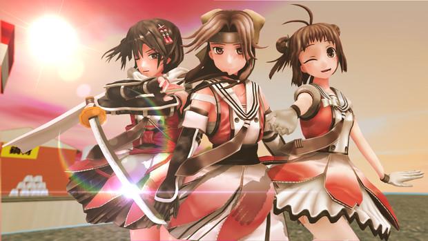 【MMD艦これ】夕焼け空と、川内三姉妹