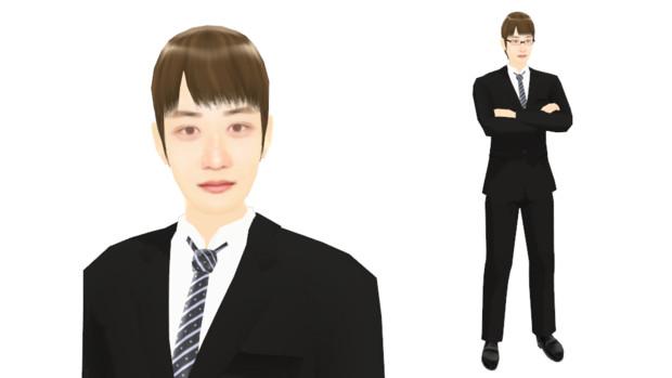 【MMDモデル配布】こんなエキストラ用モデルを作ってみた:男子社員G介