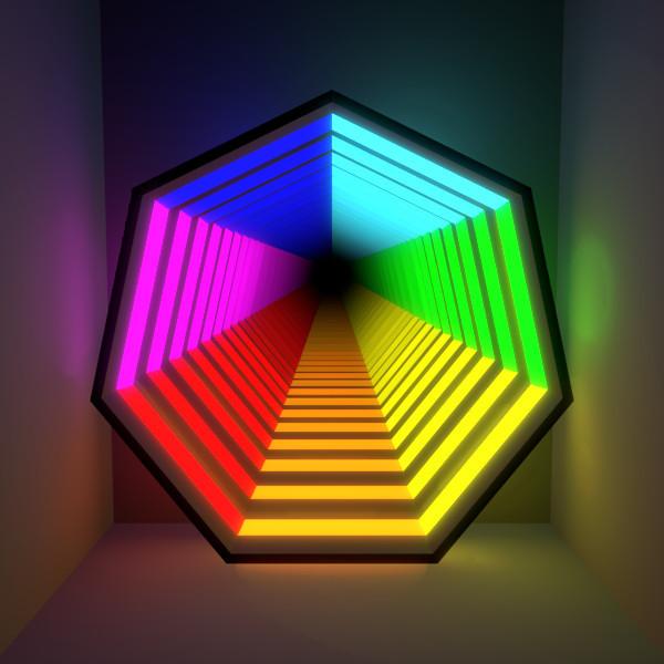 虹色の七角形の無限鏡