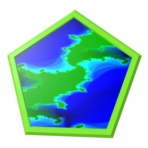 フラクタルの五角形コースター