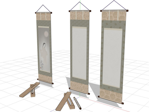 「掛け軸のベース」2種類と、幽霊画の掛け軸(修正版)配布停止中。
