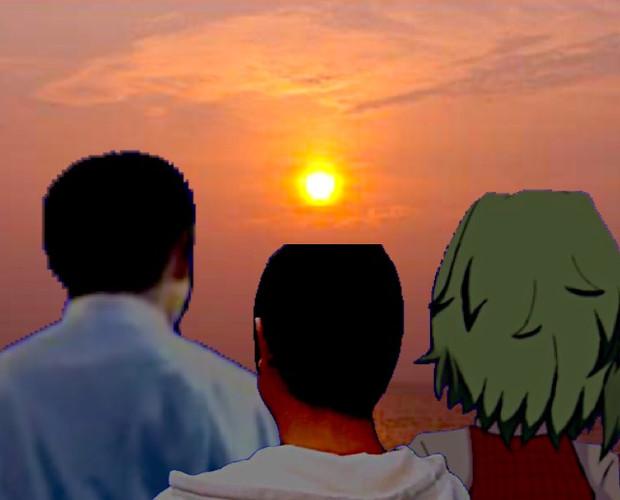 夕日を見るおじさん達