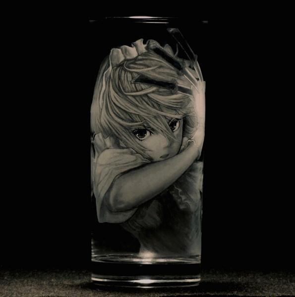 【ガラス彫り】十六夜咲夜【グラスリッツェン】