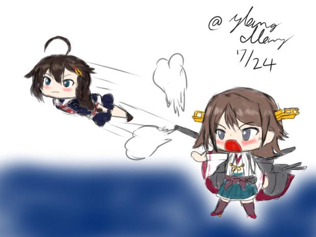比叡「時雨弾撃ちます!当たってぇ!」