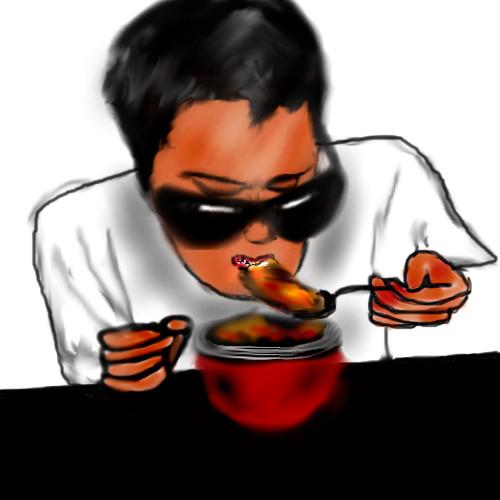 オリジナルメニューを食べるシャムさん