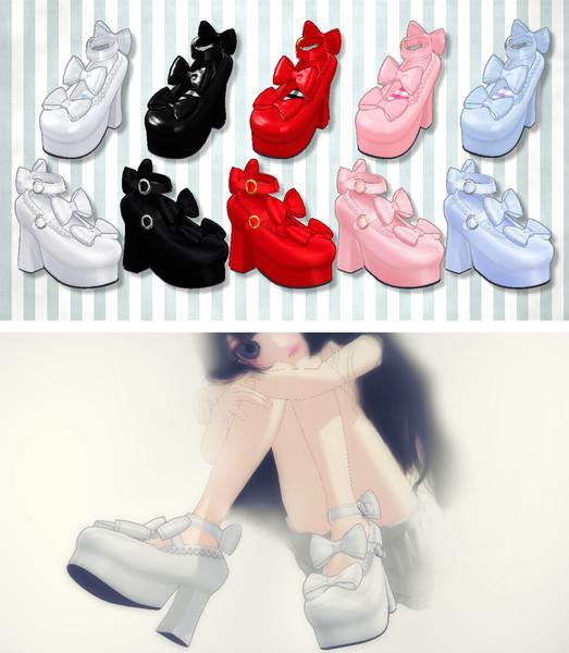 【MMDアクセサリ配布】リボンのロリータ靴