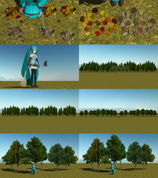 森之宮先生の方で上げていた落ち葉・庭箒・ちりとり・竹ぼうきと背景用の木、微修正版 10.18追加