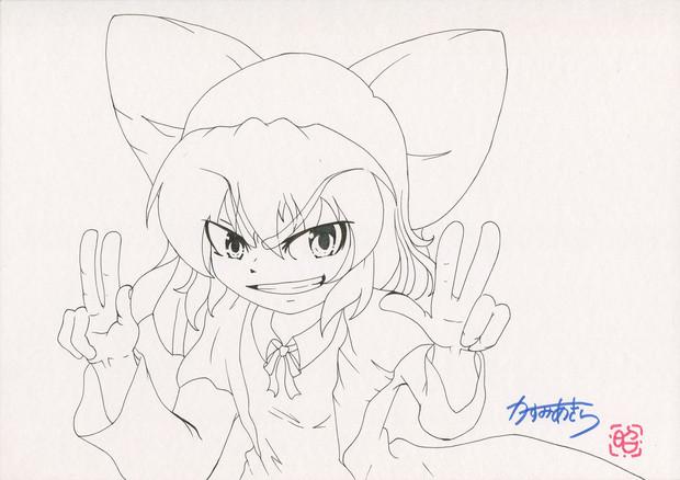 いつかは描いてみたかったシリーズ①「東方!!乙女塾のチルノ」(線画)
