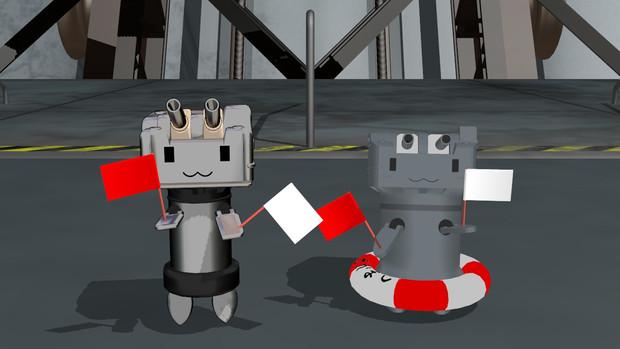 【MMD】赤旗と白旗配布