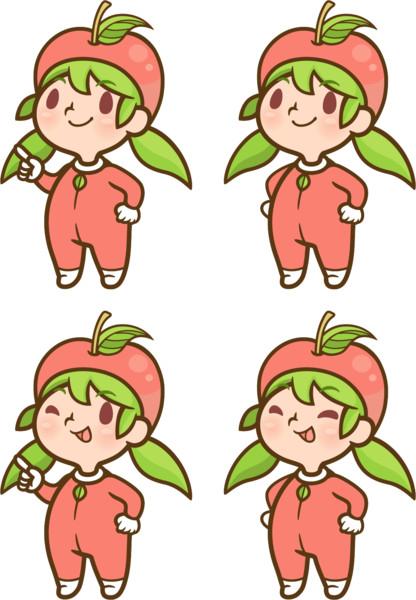 リンゴゆるキャラ 個人・商用利用OK