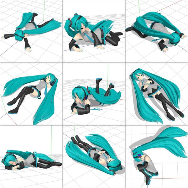 倒れる寝るポーズmmdポーズデータ配布 Foll さんのイラスト