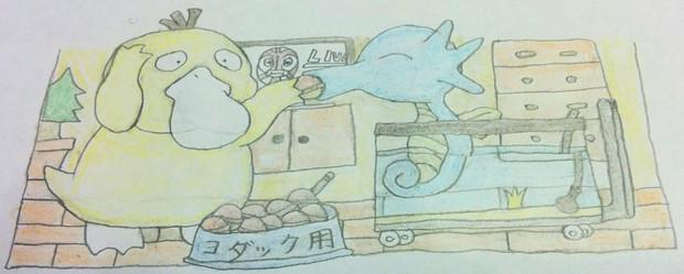 鈴カステラを食べるコダックとタッツー