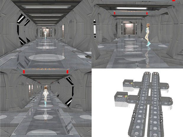 メカっぽい長い廊下