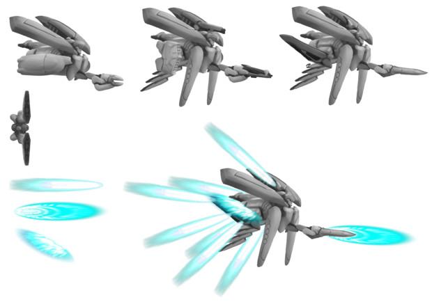 機動兵器セット組み立て済み - グレースケール
