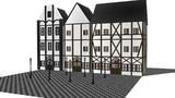 【MMDモデル配布あり】石畳と街灯と建物