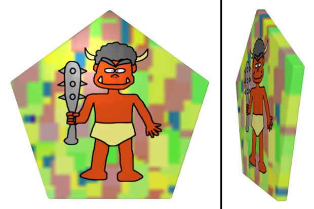 鬼の五角形コースター