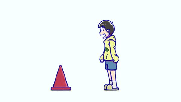 【お題】+1された数だけ、十四松の頭にコーンを乗っけてく【結果GIF】