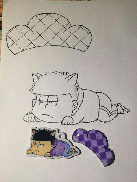 プラ板でネコミミ一松を作りました 紫ムラサキ さんのイラスト