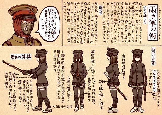 陸軍両手軍刀術 構備の姿勢(こうびのしせい)