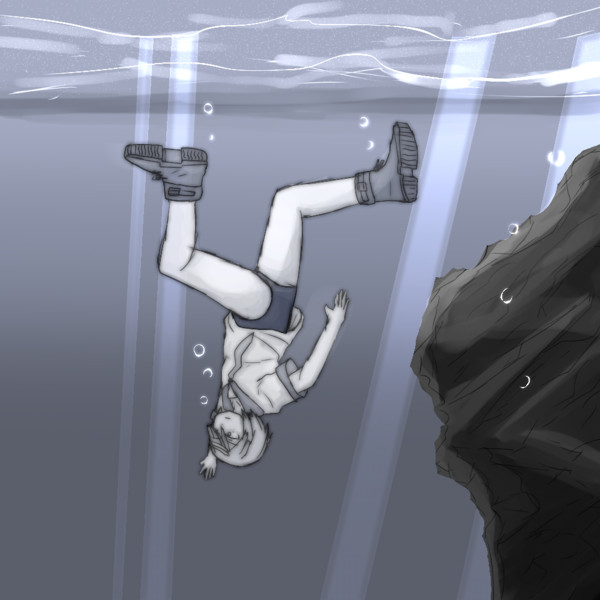 ホログラムを潜る女