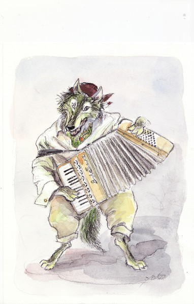 オオカミのバンドネオン演奏