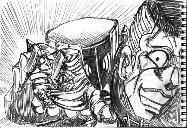 2B鉛筆で虹村億泰とザ・ハンド描いてみた!