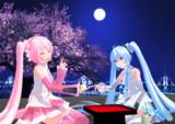 桜ミクと雪ミク、季節はずれのお月見