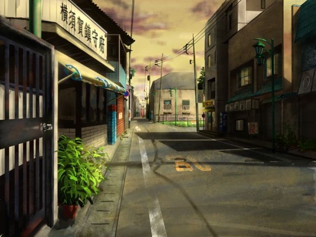 日暮れの商店街