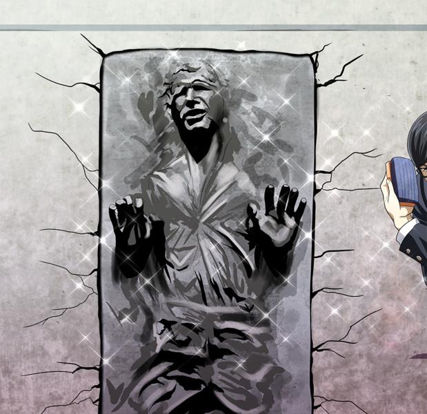 壁にはまってうごけないハン・ソロ