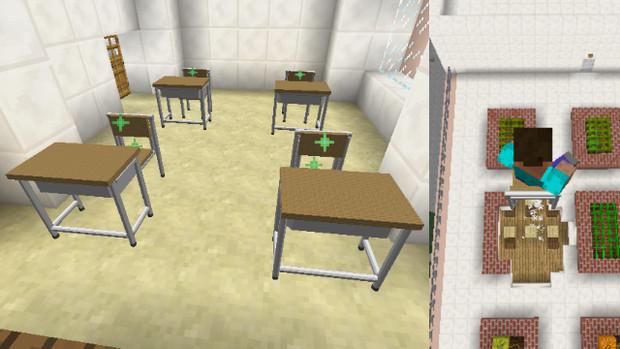 【minecraft】学校にある机と椅子(推進エンジン付き)を作ってみた【jointblock】
