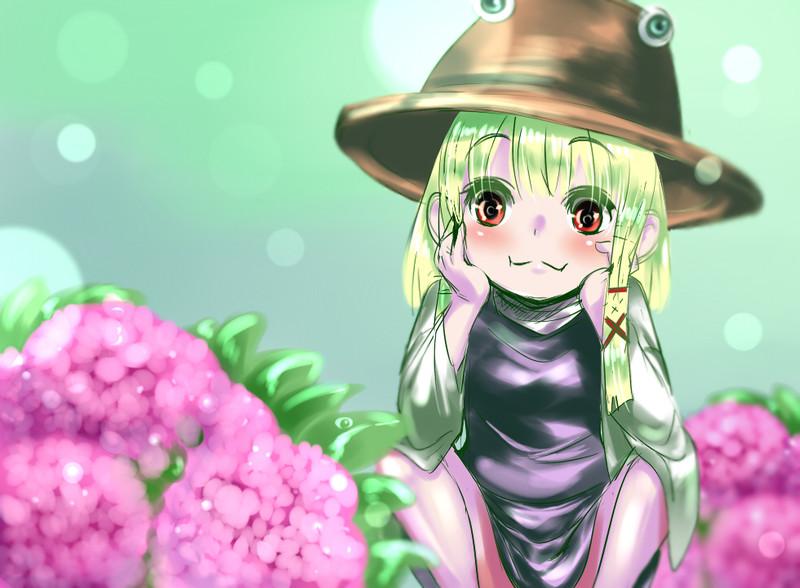 諏訪子と紫陽花