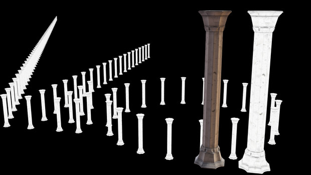 【MMDモデル配布】破片演出セット ローマ建築っぽいの_柱 更新