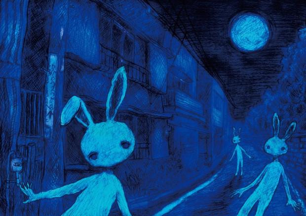 ウサギと青い月