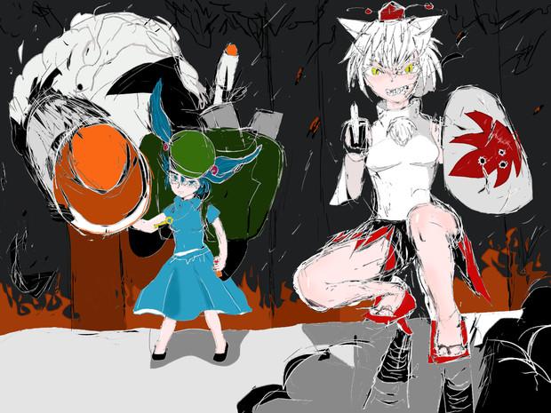 河童と白狼天狗 妖怪の山防衛