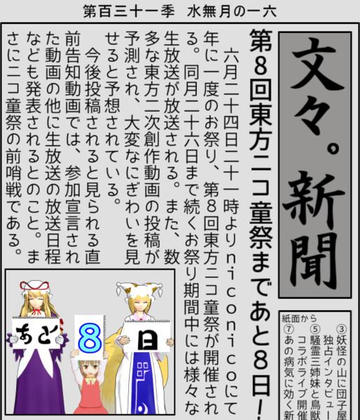 【第8回東方ニコ童祭支援】あと8日!
