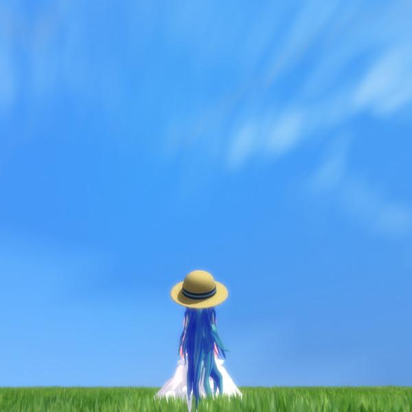 空と草原と女の子20002000 モリ男 Morio さんのイラスト
